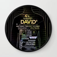 prometheus Wall Clocks featuring David8 - Prometheus by Chubbybuddhist