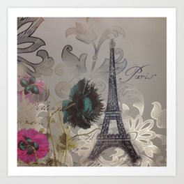 shabby elegance poppy flower french vintage paris Eiffel Tower Art Print