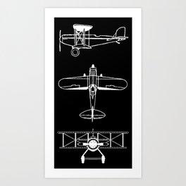 Biplanes // Black Art Print