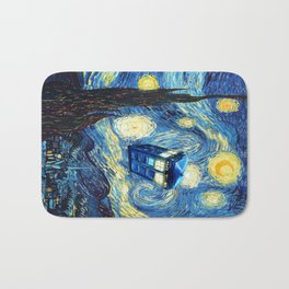 Soaring Tardis doctor who starry night oil painting Bath Mat