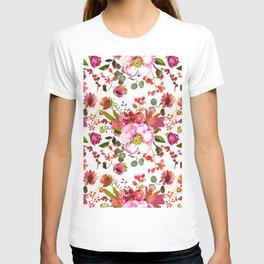 Blush pink orange green watercolor modern roses berries T-shirt