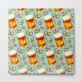 Beer & Pretzel Pattern Metal Print