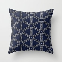 Navy Blue Patterns and Words Throw Pillow
