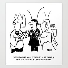 Bridegroom Takes Exception to Vicar's Question Art Print