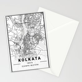Kolkata Light City Map Stationery Cards