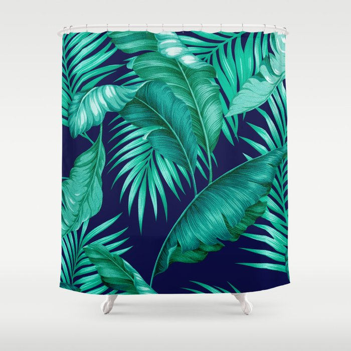 HAWAIIAN GARDEN TROPICAL LEAVES | turquoise navy Shower Curtain by ...