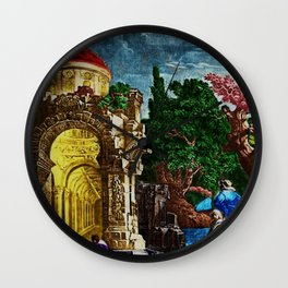 """""""Ruins of the Temple of Diana"""" Landscape Painting by Jeanpaul Ferro Wall Clock"""