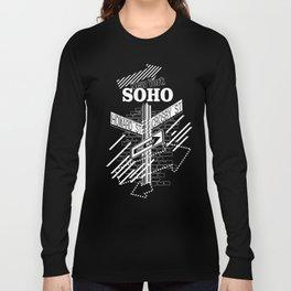 SoHo, New York Streets- white on black Long Sleeve T-shirt