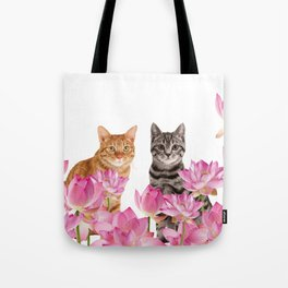 Red and Tiger cat in Lotos Flower Field Tote Bag