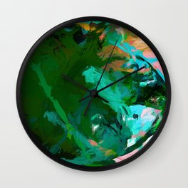 Green Leaf Killer Whale Turquoise Blue Wall Clock