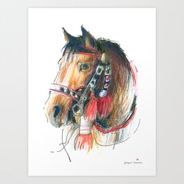 Horse Head (Drayhorse from Zakopane) Art Print