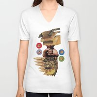 burger V-neck T-shirts featuring Burger by Lerson