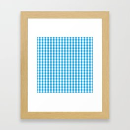 Oktoberfest Bavarian Blue and White Large Gingham Check Framed Art Print