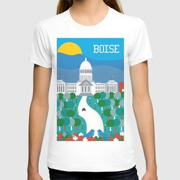 Boise, Idaho - Skyline Illustration by Loose Petals T-shirt