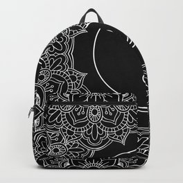 Yin yang symbol in Black and white lace ornament Backpack