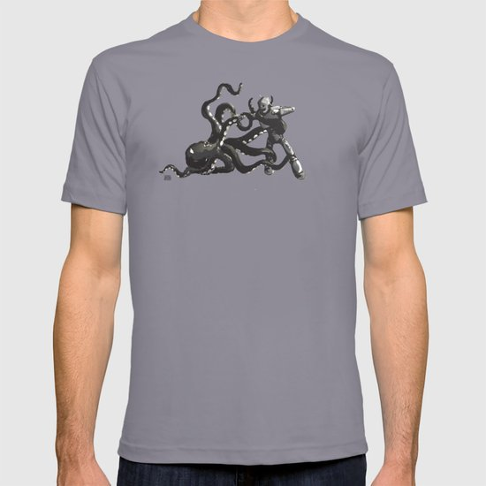 Octopus Wrestling with a Robot T-shirt