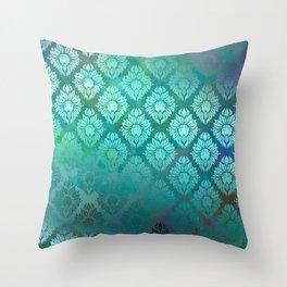 """""""Turquoise Ocean Damask Pattern"""" Throw Pillow"""