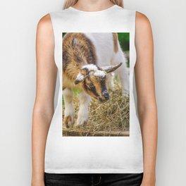 Baby Goat with Straw Hat Biker Tank