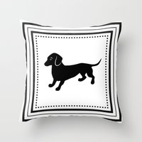 dachshund Throw Pillows featuring Dachshund by Antique Images