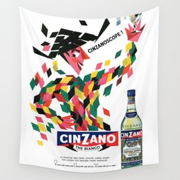 1964 Cinzano Vermouth Advertising Poster Wall Tapestry