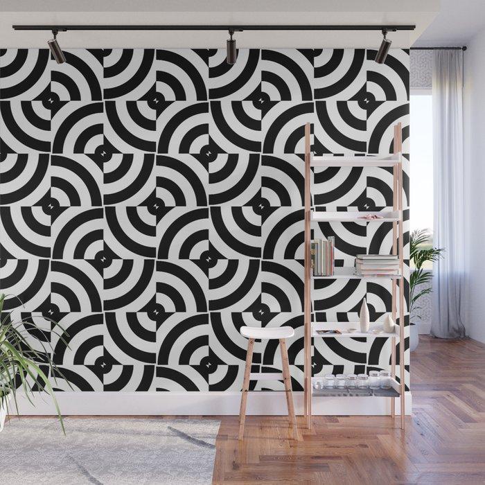 Black And White Pop-Art Circles Wall Mural by lebensartdesign | Society6