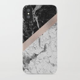 Monochrome marble designer - rose gold iPhone Case