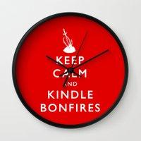 kindle Wall Clocks featuring Keep Calm & Kindle Bonfires by Zach Shonkwiler