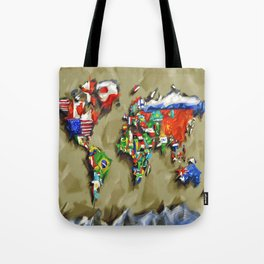 world map with flags vintage 2 Tote Bag
