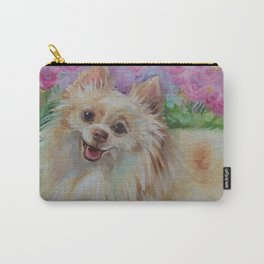 White Pomeranian in the rose garden Cute miniature spitz dog portrait Oil painting on canvas Carry-All Pouch