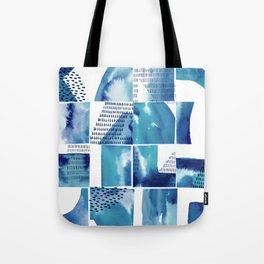 Blue Watercolor Typographical Fragments Cheater Quilt Tote Bag