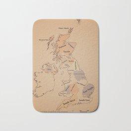Regions of the United Kingdom vintage map Bath Mat
