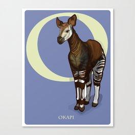 O is for Okapi: Under Appreciated Animals™ ABC nursery decor purple unusual animals Canvas Print