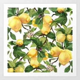 Watercolor lemon Art Print