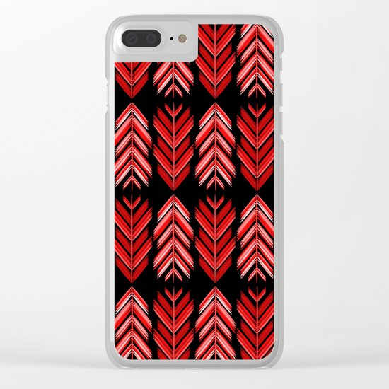 Red feathers Clear iPhone Case