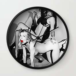 Mistress and her Pet, slave fetish, black and white, girl in BDSM, bondage pose ball gagged Wall Clock