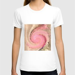 Multicolored mosaic in pink beige . T-shirt