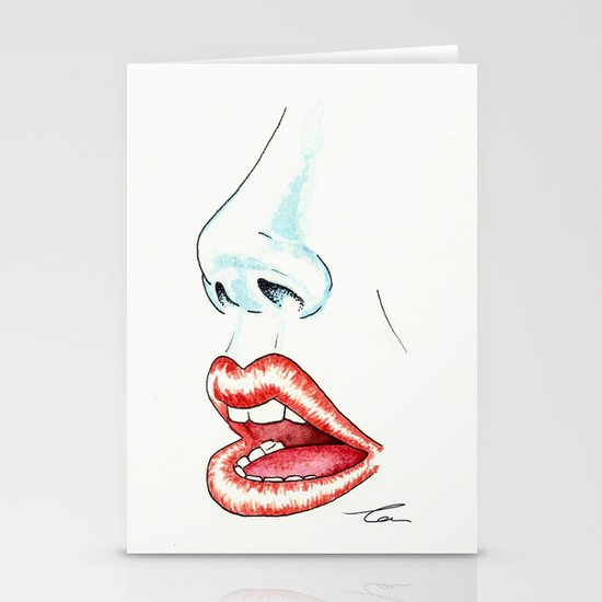 Watercolor Lips Stationery Cards