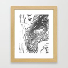 Katsuro - spilled ink marble paper map topography painting black and white minimal ocean swirl  Framed Art Print