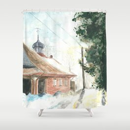 Snowy Road Shower Curtain