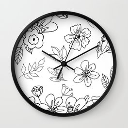 White and black flowers leaves, doodle, sketch. Wall Clock
