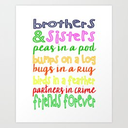 Brothers and Sisters Subway Art, Sibling Wall Art Children, Gift Art Print