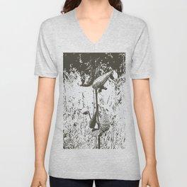 Milkweed Plant in Black and White Unisex V-Neck