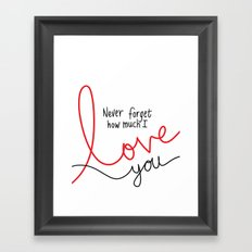 Never Forget How Much I Love You Framed Art Print