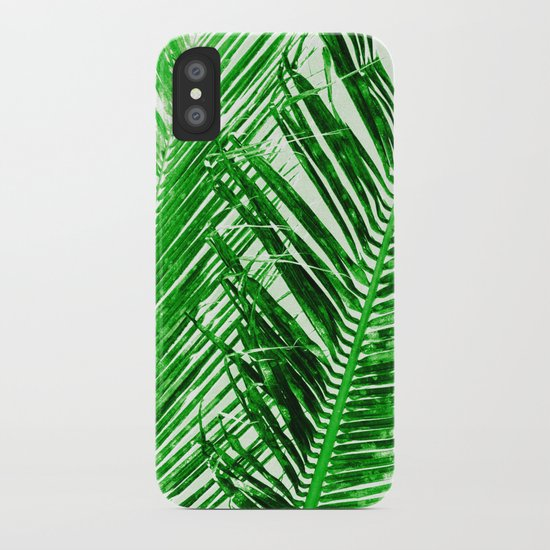 tropical palm green iphone case by amy sia society6