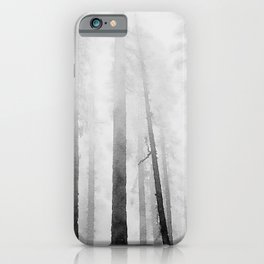 Black White Gray Forest Winter Snow Watercolor Trees Nature Art Print Wall Decor  iPhone Case
