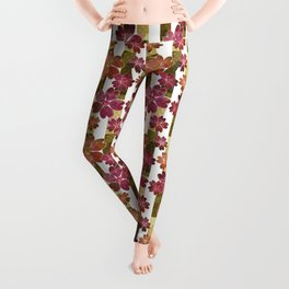 Retro . Floral pattern in yellow and brown tones . Leggings