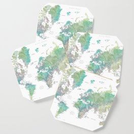 Watercolor world map in muted green and brown Coaster