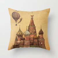 depeche mode Throw Pillows featuring Trip to Moscow by Terry Fan