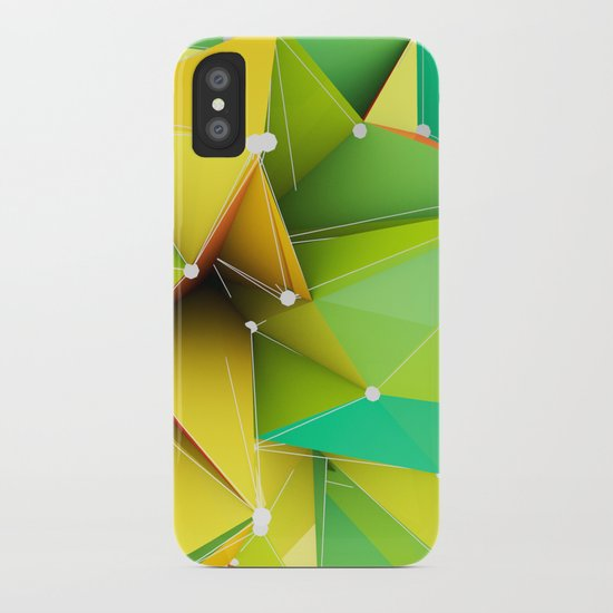 Polygons green Abstract iPhone Case