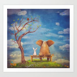 Elephant and rabbit sit on a bench on the glade Art Print